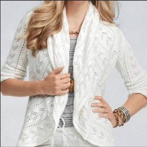 cAbi Open Front White Circle Cardigan Sweater